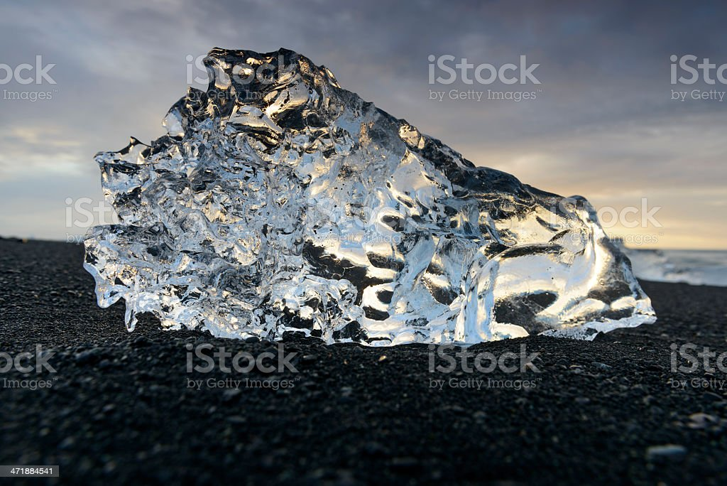 Ice shape on the beach royalty-free stock photo