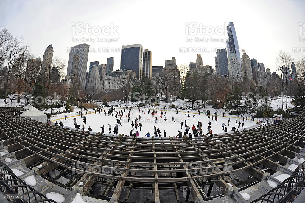 Ice Skaters at Trump Rink in Central Park stock photo