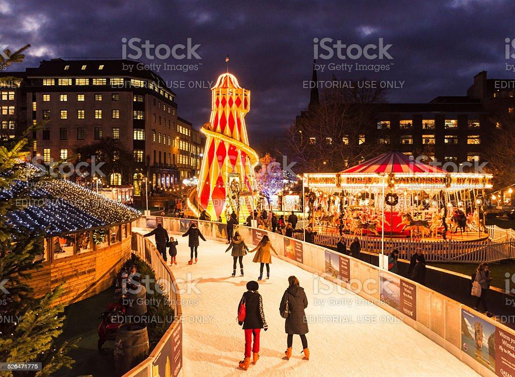 Ice skating at Christmas stock photo