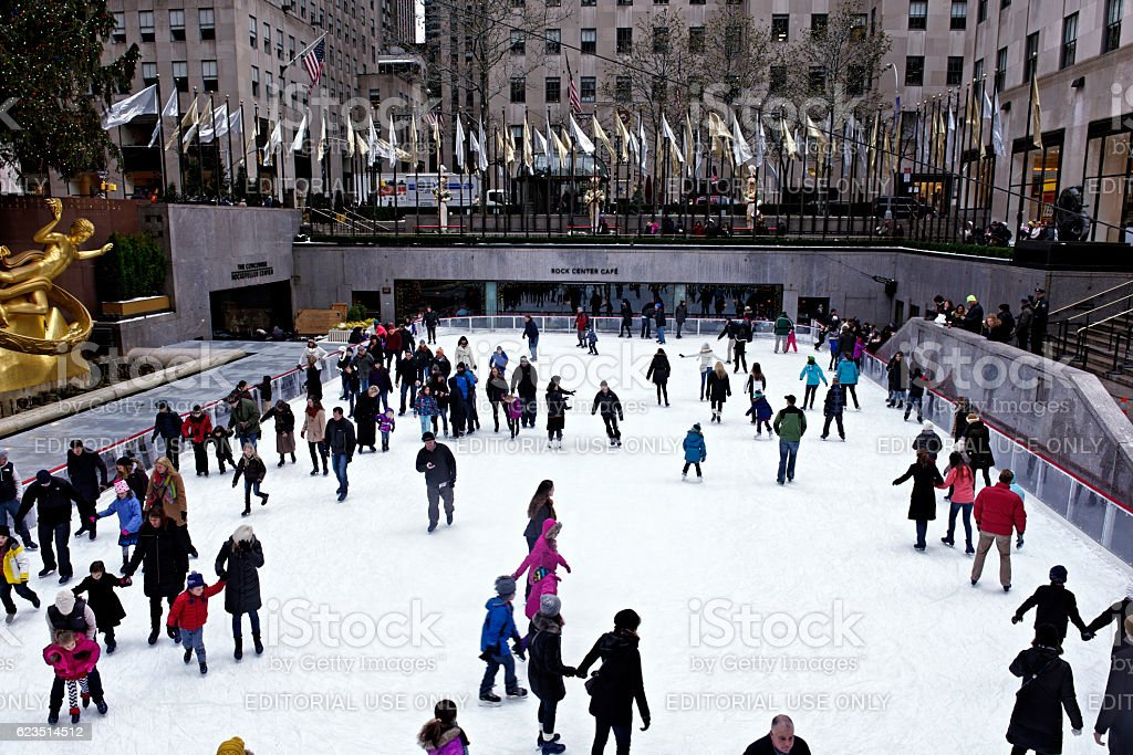 Ice skating at ice rink ,Rockefeller Center , New York City stock photo