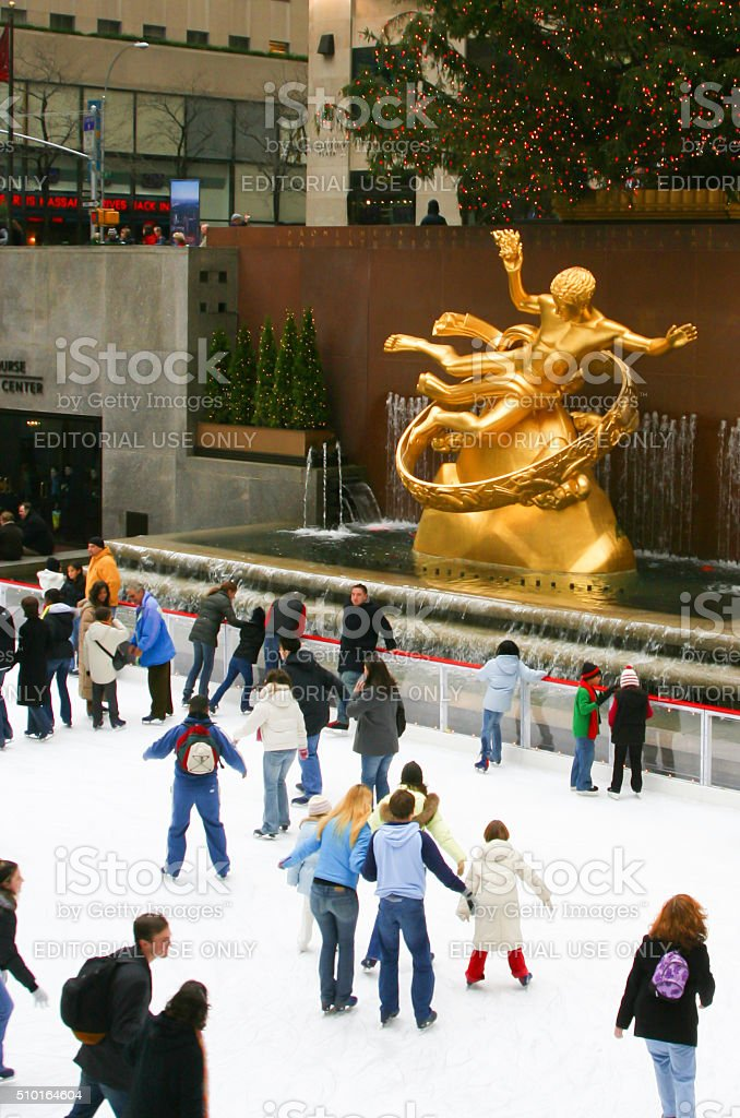 Ice Skating at Rockefeller Center, New York City stock photo