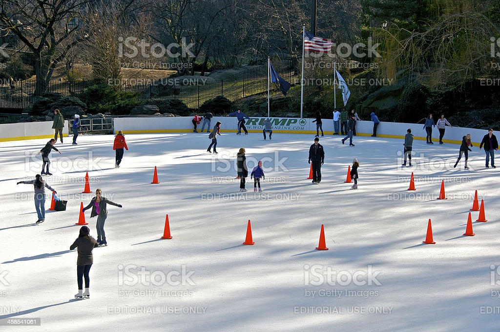 Ice skating in Central Park, Wollman Rink, New York City stock photo