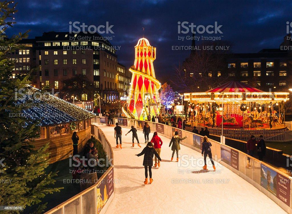 Ice Skating in Edinburgh at Christmas stock photo