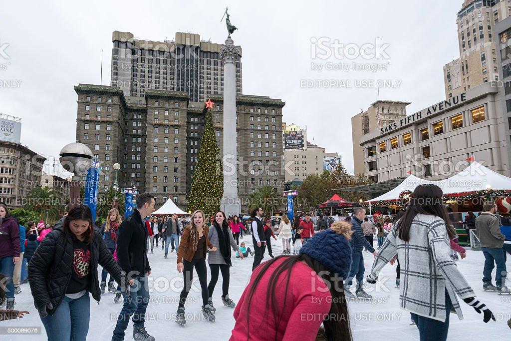 Ice skating in Union Square, San Francisco, USA stock photo