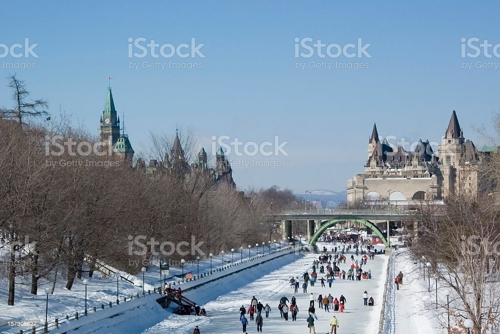 Ice Skating on the Rideau Canal royalty-free stock photo