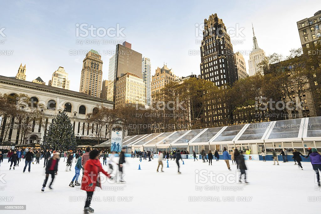 Ice Skating Rink Bryant Park NYC stock photo