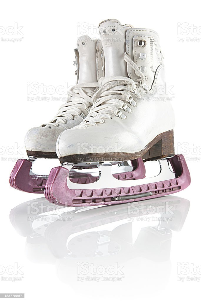Ice skating shoes and blades protectors with clipping path stock photo