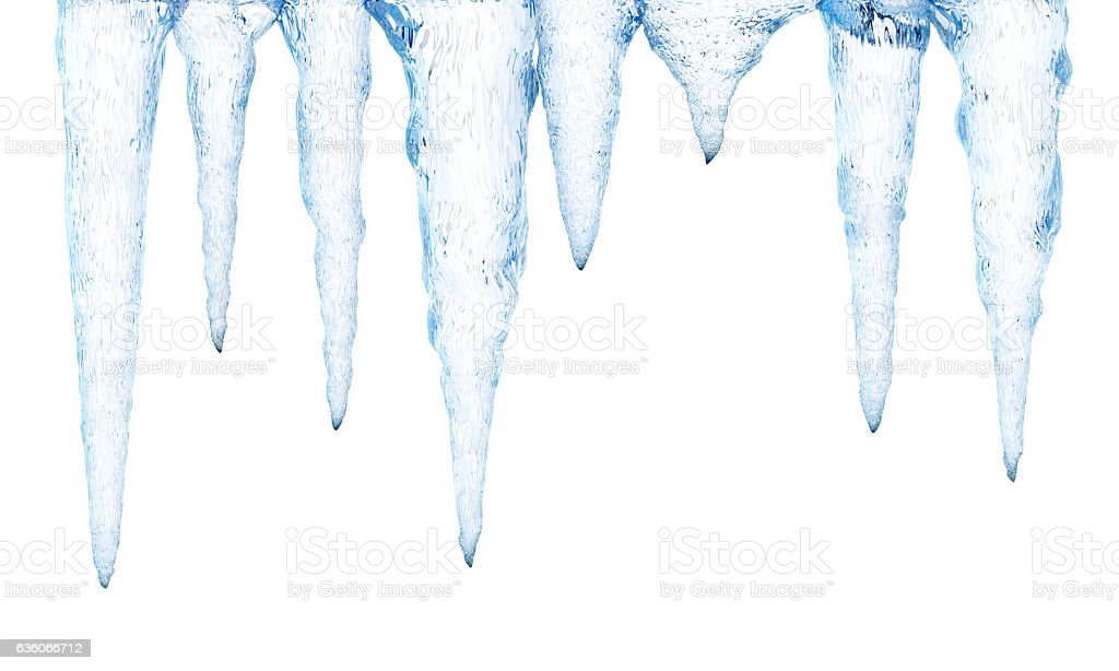 Ice stalactiles isolated on white stock photo