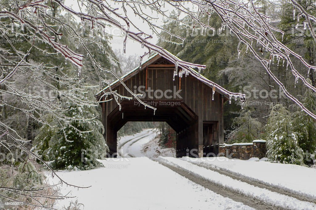 Ice Storm at a Covered Bridge stock photo
