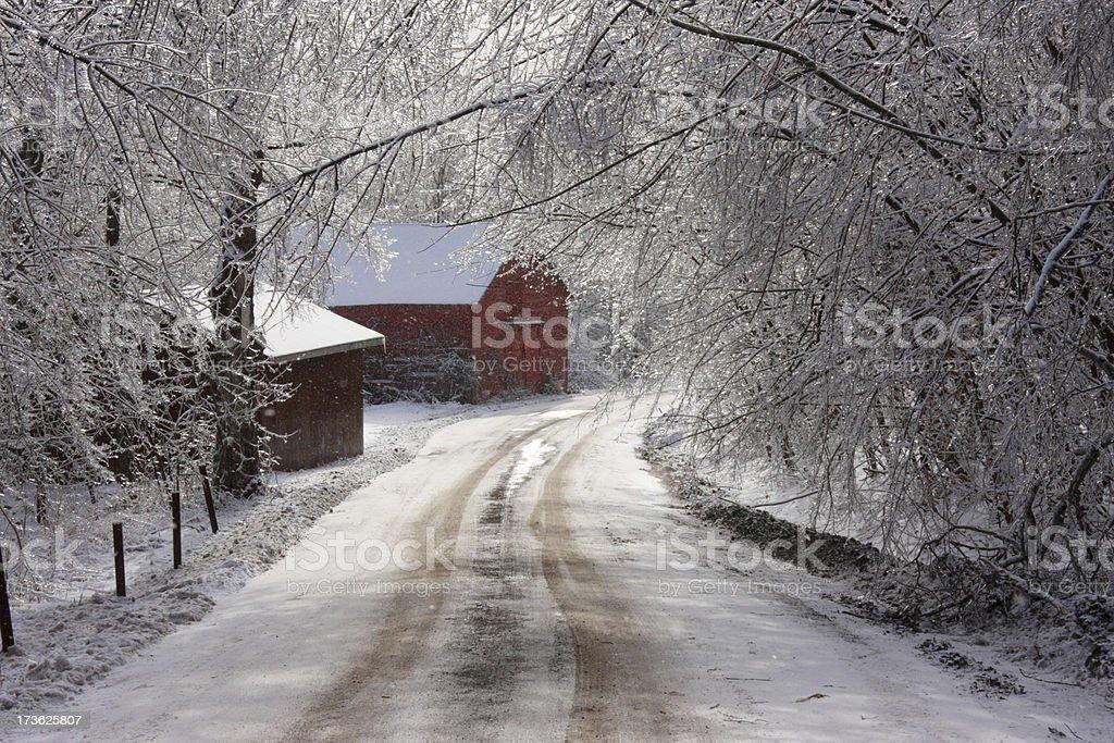 Ice Storm Barn stock photo