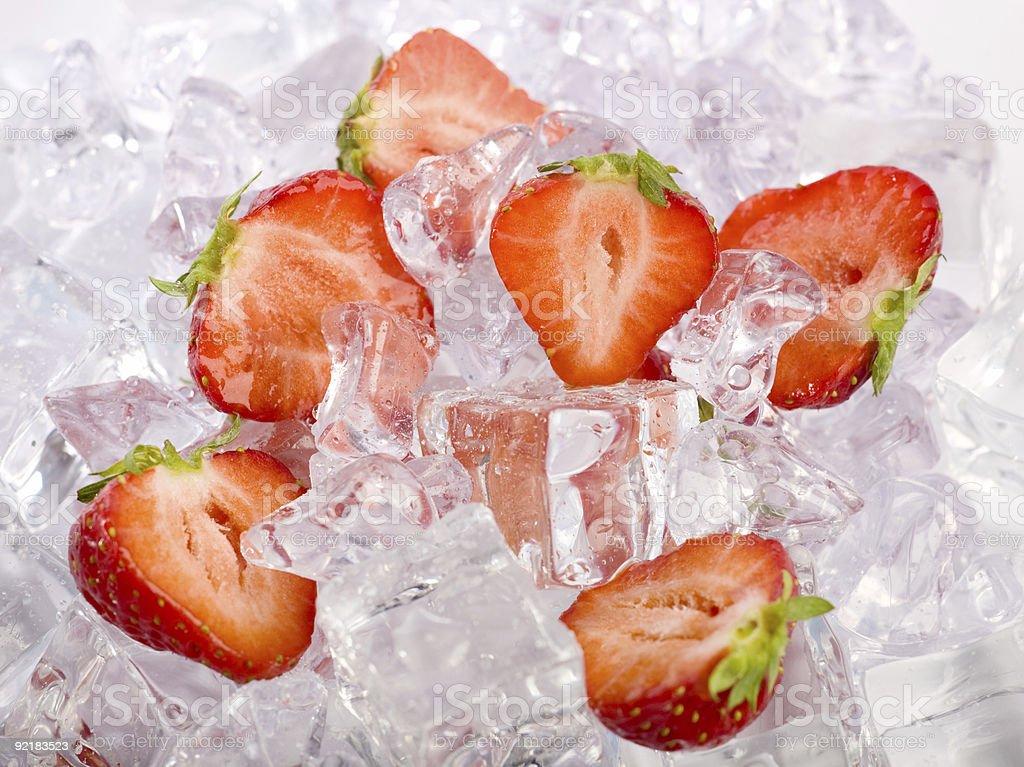 Ice Strawberries royalty-free stock photo