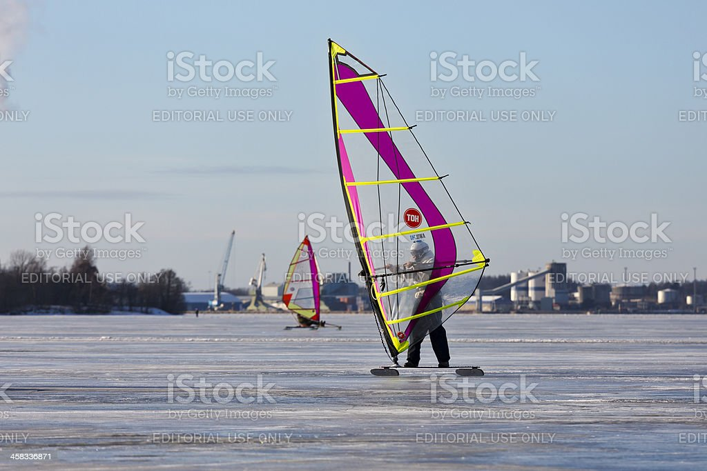 Ice surfing royalty-free stock photo