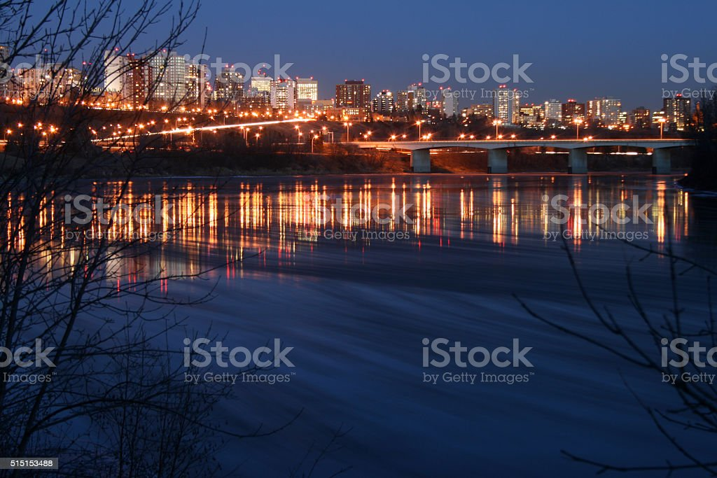 Ice Sweeps Along North Saskatchewan River stock photo