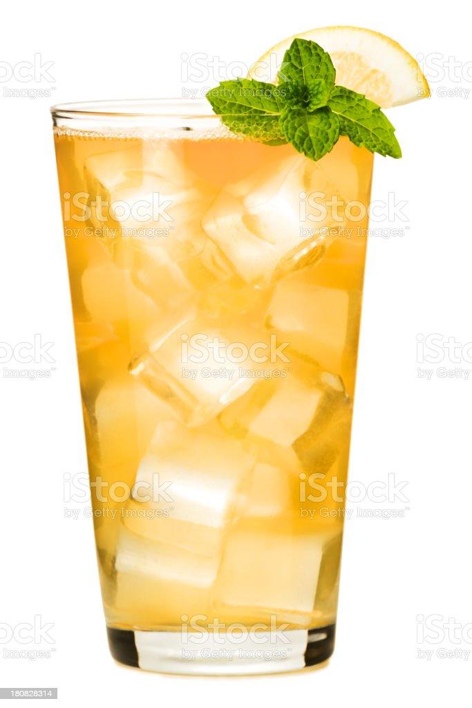 Ice Tea Bourbon Whiskey and Lemonade Isolated on White Background royalty-free stock photo