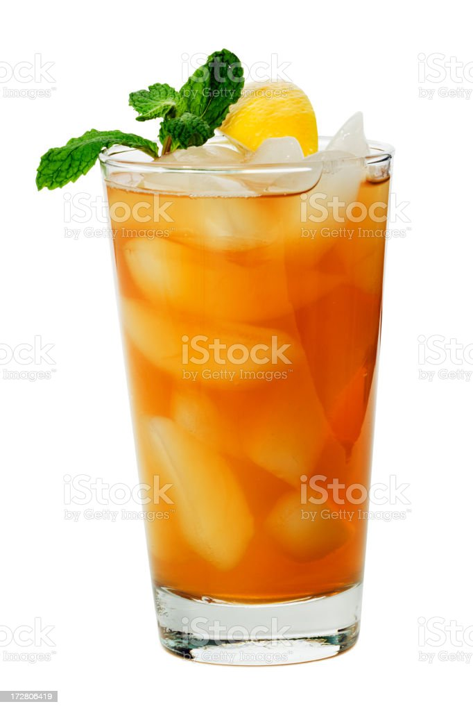 Ice Tea with Lemon and Mint Isolated on White Background stock photo