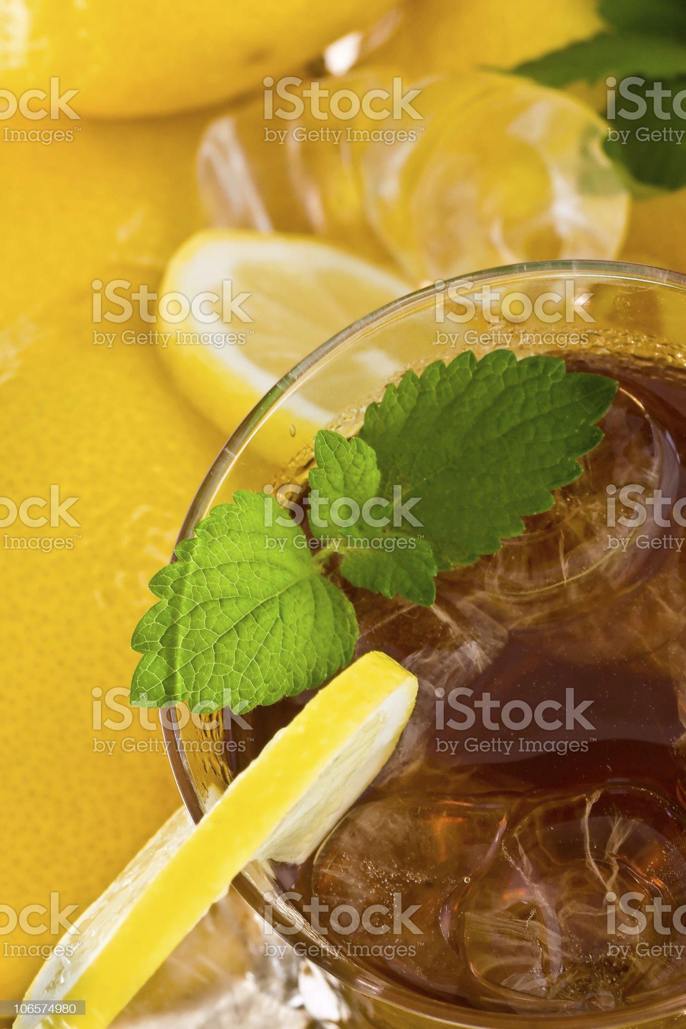 Ice tea with lemon royalty-free stock photo