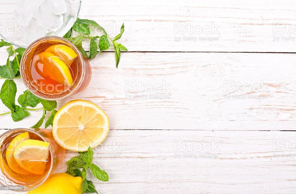 Ice tea with lemon. stock photo