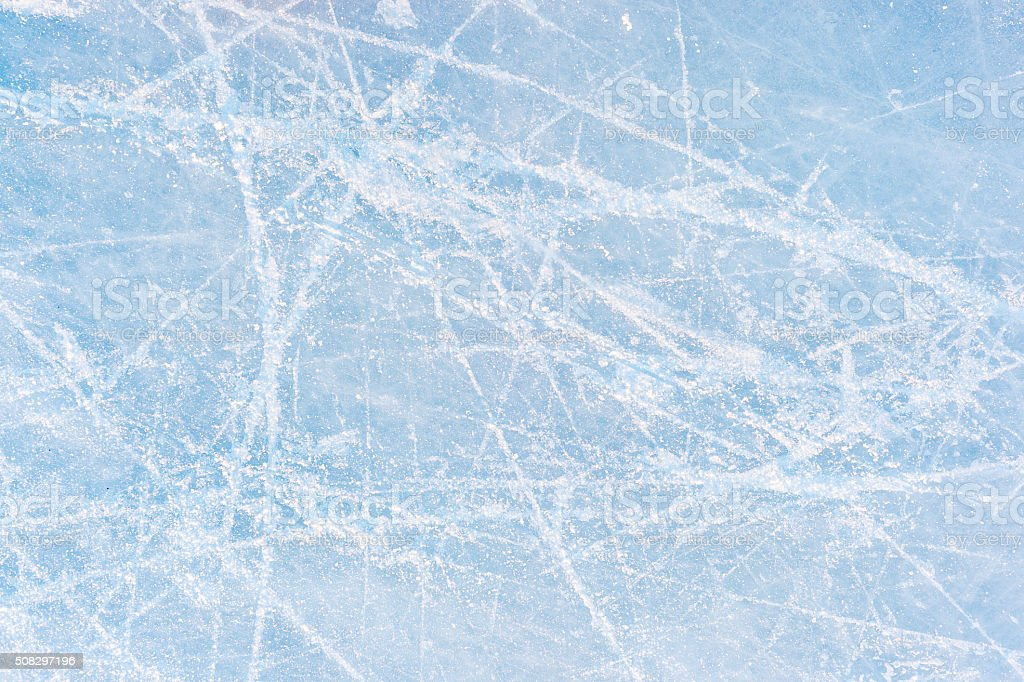 Ice texture on an ice skating rink stock photo