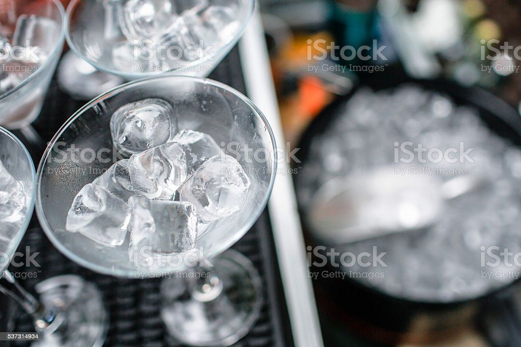 ice Tube in the bucket. coctail party. stock photo