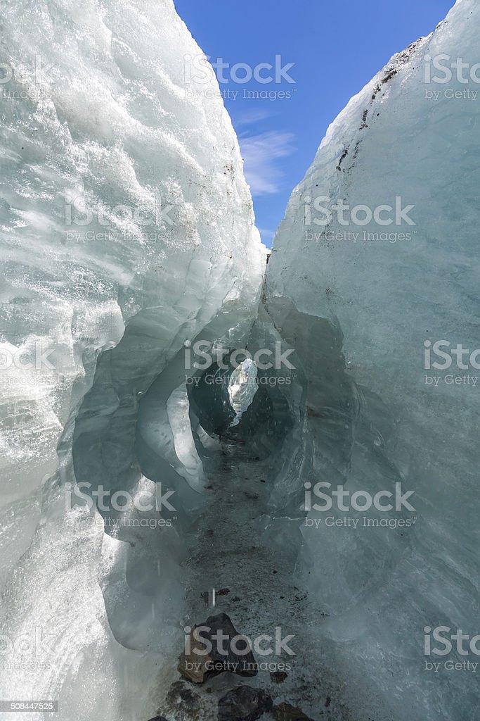 Ice Tunnel on Fox Glacier stock photo