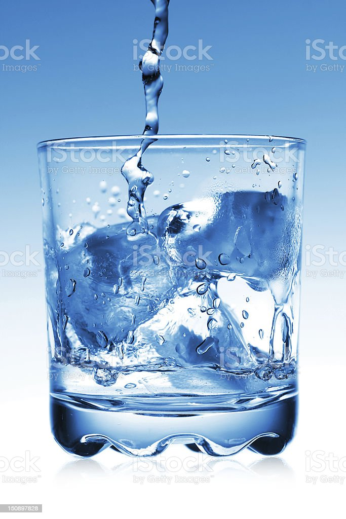 ice water and glass stock photo