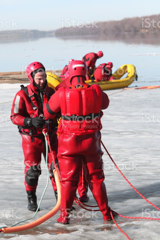 Ice water rescue stock photo