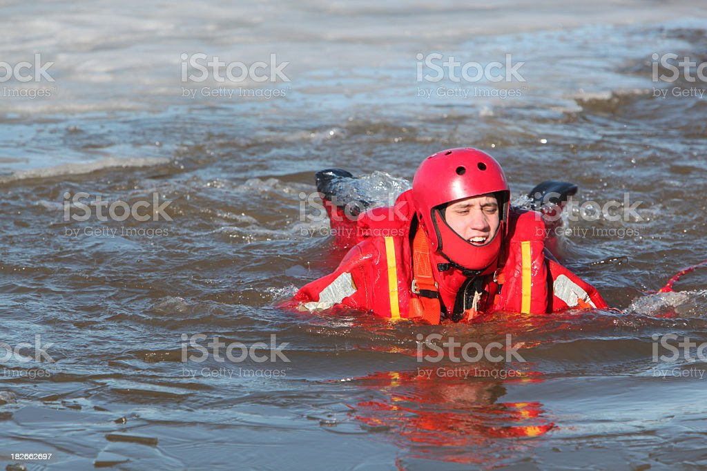 Ice water rescuer royalty-free stock photo