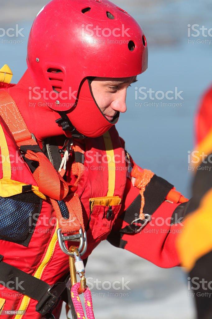 Ice water rescuer stock photo