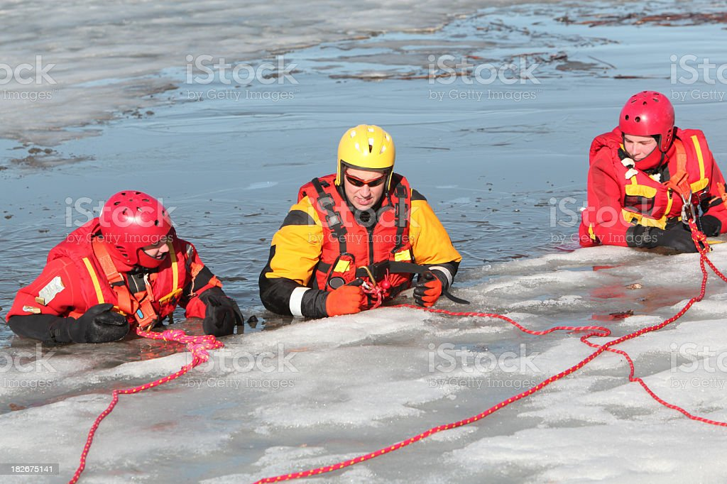 Ice water rescuers royalty-free stock photo
