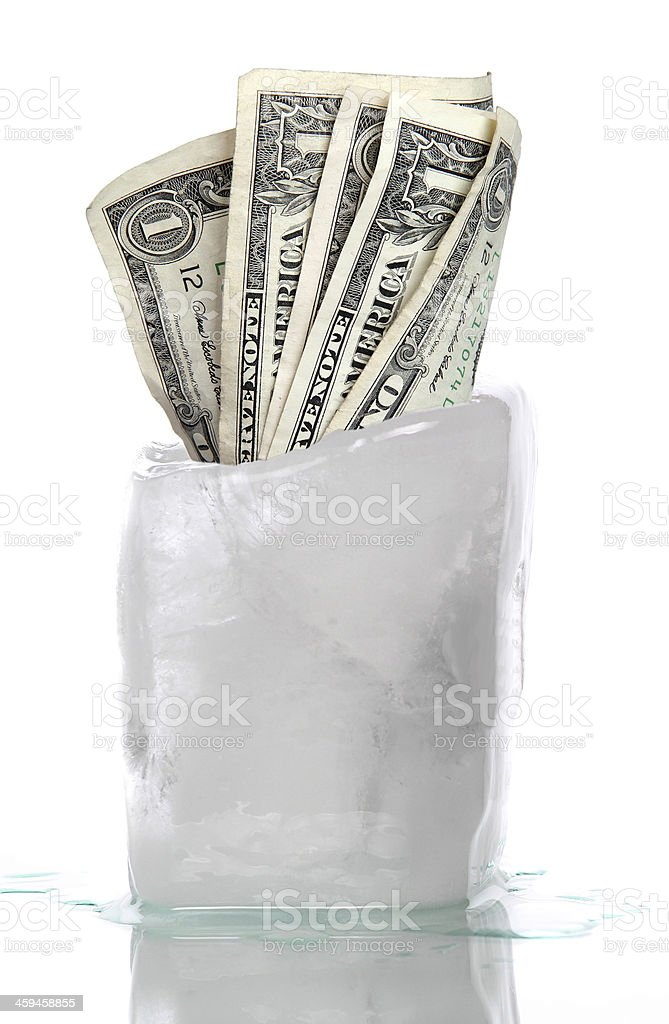 ice with frozen water-tap stock photo