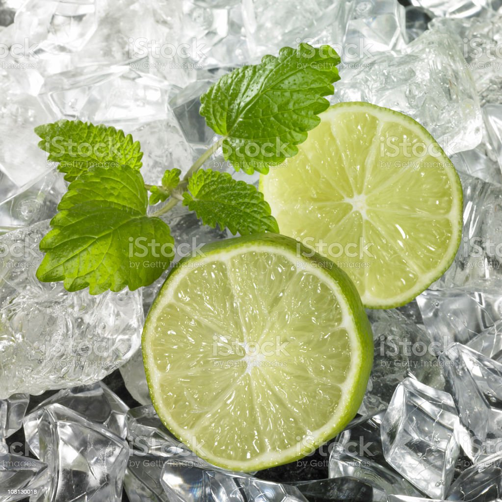 Ice with Lime Wedges stock photo