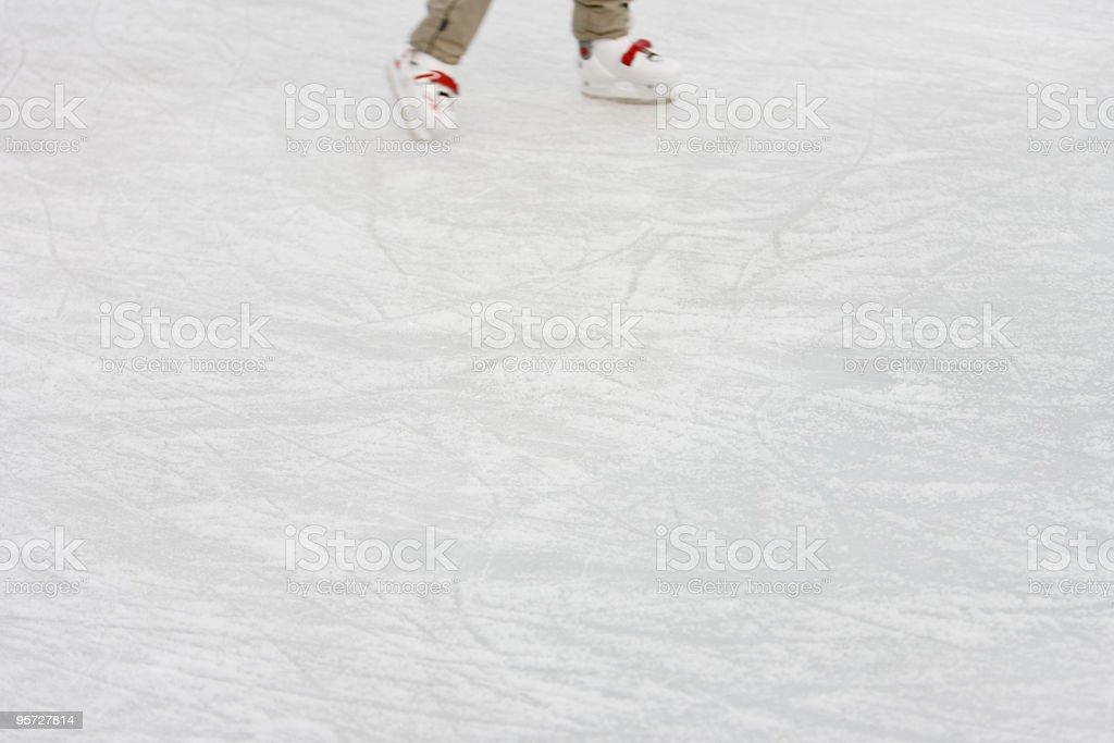 Ice with skater and skate marks stock photo
