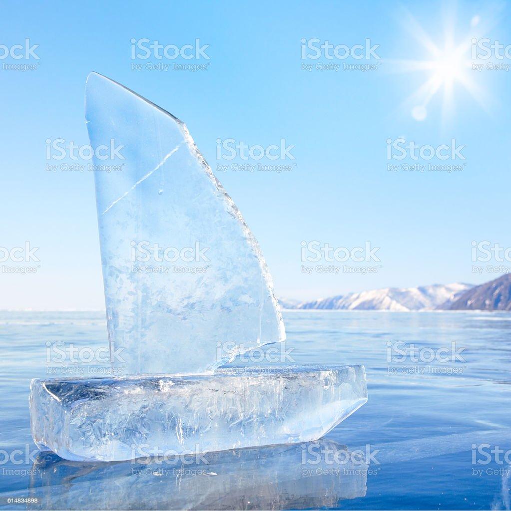 Ice yacht on winter Baical stock photo