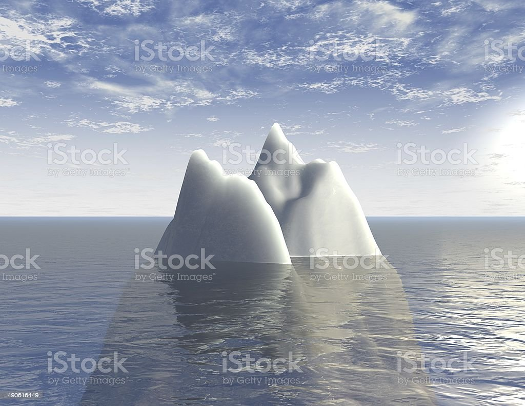 iceberg 3d illustration background with sea and blue sky abstraction stock photo