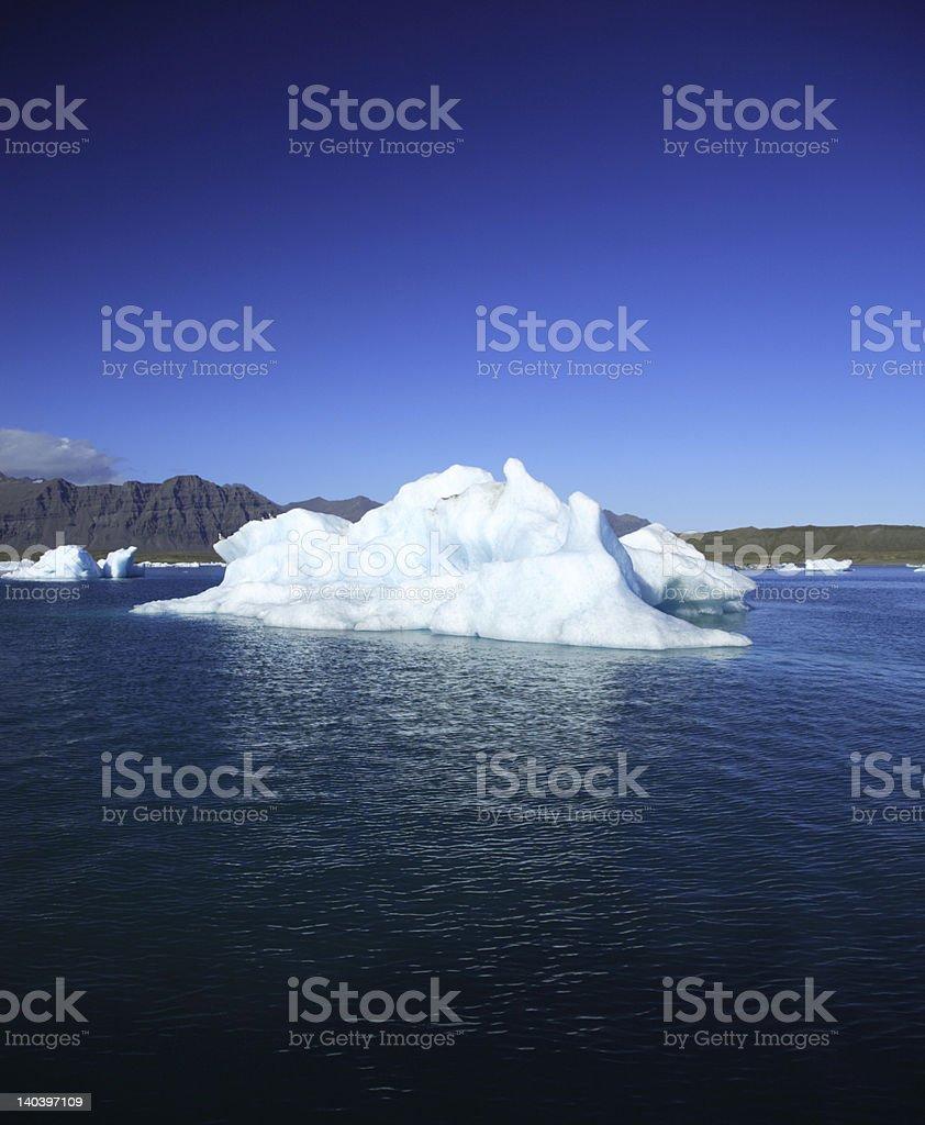 Iceberg against a blue sky Jokulsarlon lagoon Iceland royalty-free stock photo