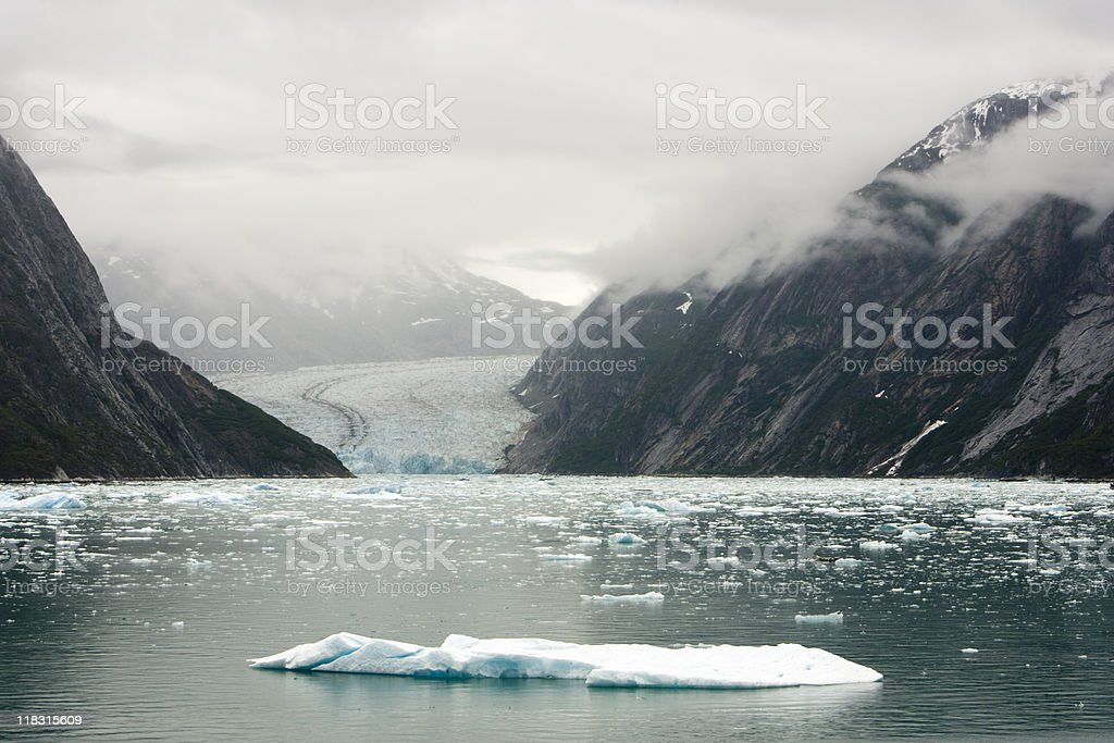 Iceberg and Dawes Glacier at Endicott Arm Fjord stock photo