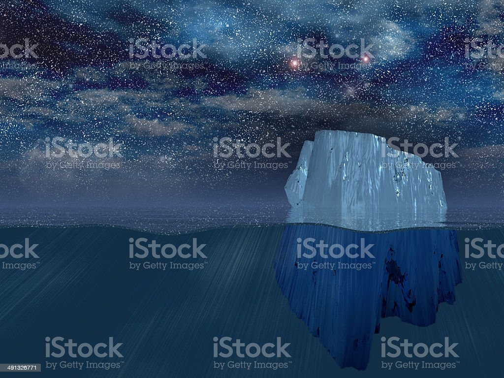 Iceberg at night stock photo