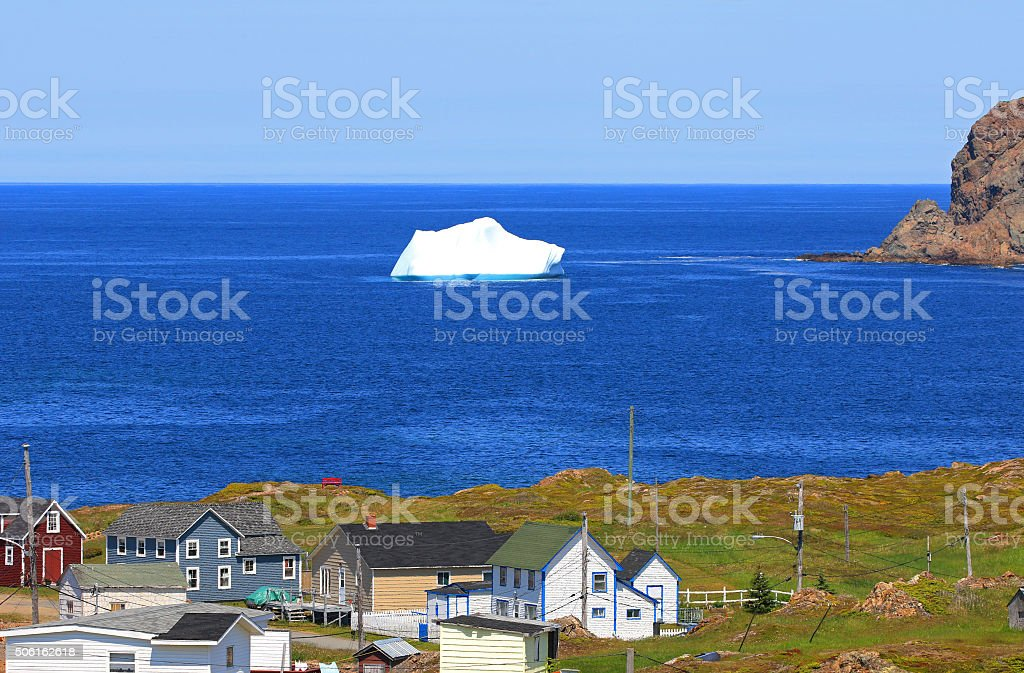 Iceberg close to Shore, Newfoundland, Canada stock photo