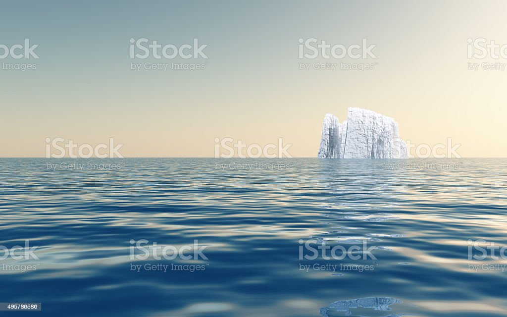Iceberg in open sea stock photo