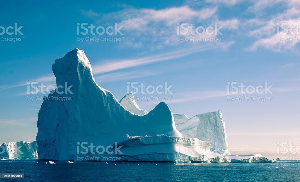 Iceberg in twilight stock photo