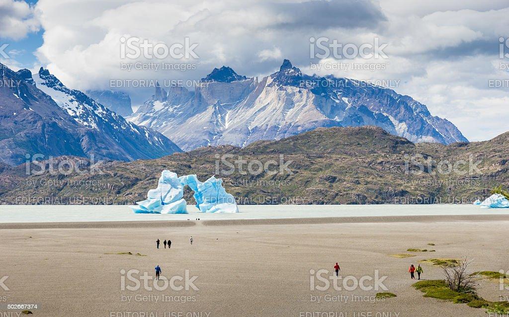 Iceberg Lago Grey in Torres del Paine National Park, Chile stock photo