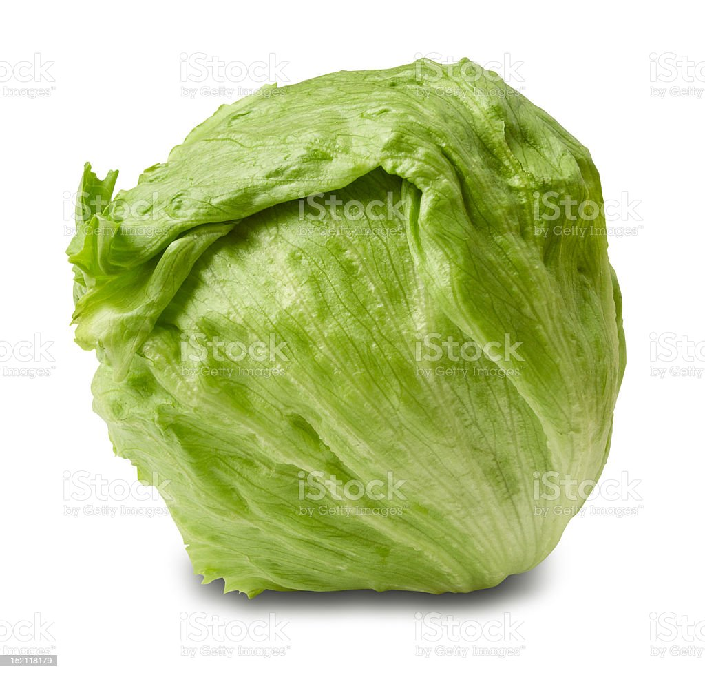 Iceberg salad - head of lettuce stock photo