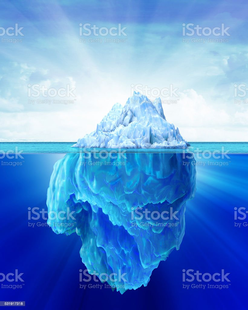 Iceberg solitary in the sea. stock photo
