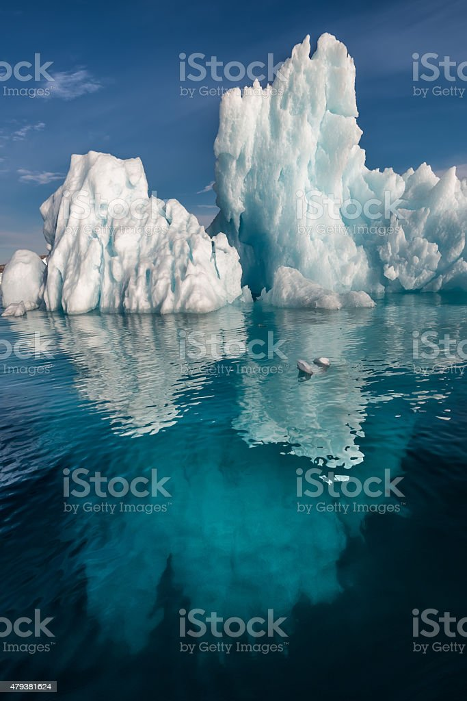 Iceberg Submerged Greenland Bernstorff Isofjord stock photo