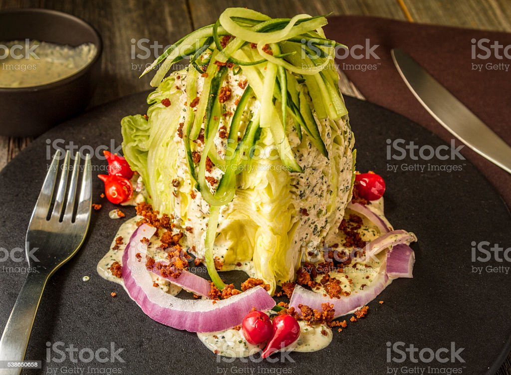 Iceberg Wedge Salad with Blue Cheese stock photo
