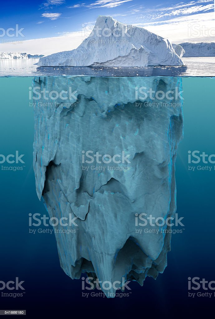 iceberg with underwater view stock photo