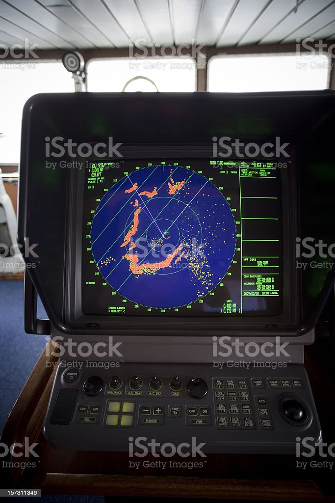 Icebergs Ahead, Icebreaker Antarctica Radar royalty-free stock photo