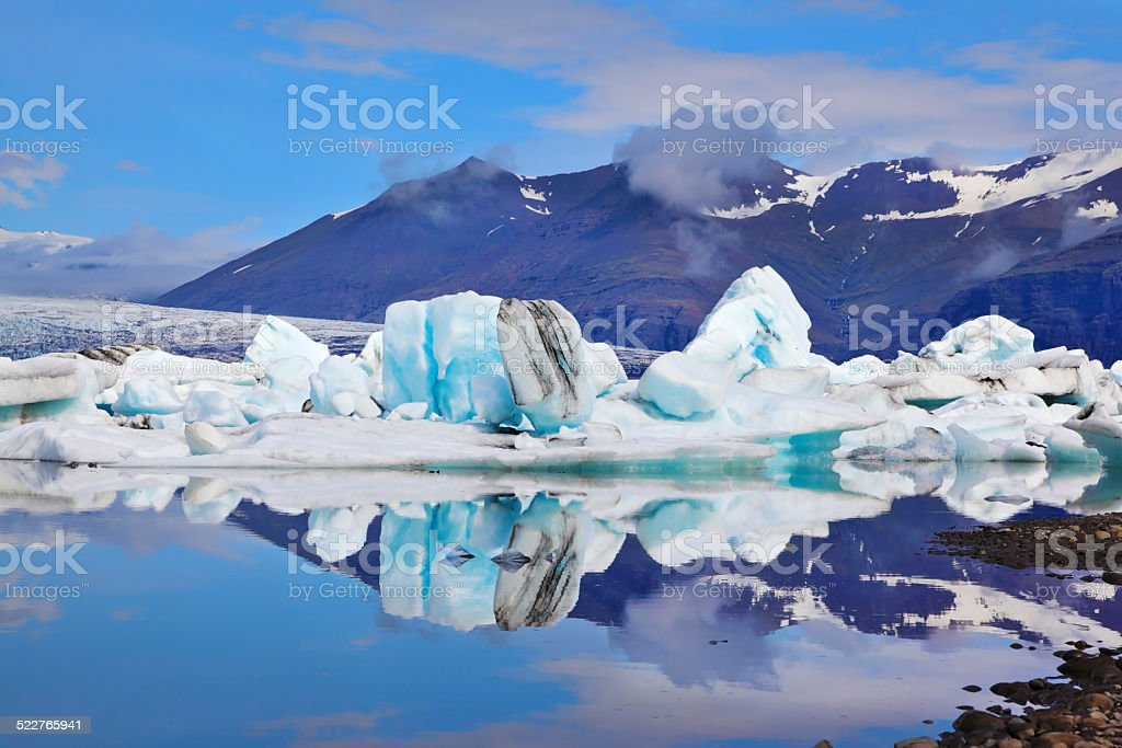 Icebergs and ice floes stock photo