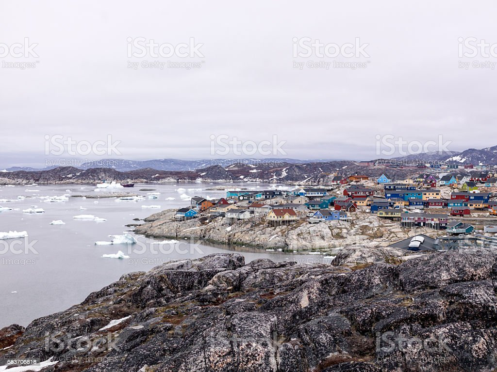 Icebergs are on the arctic ocean at Ilulissat fjord, Greenland stock photo