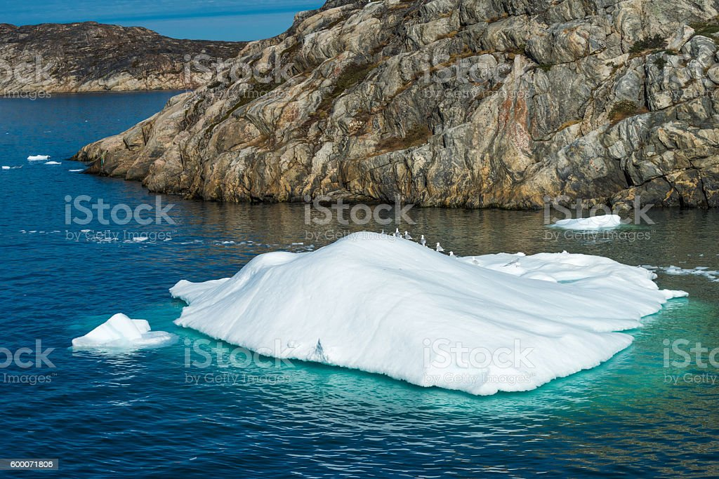 Icebergs at the entrance to the Ilulissat harbor, Greenland stock photo